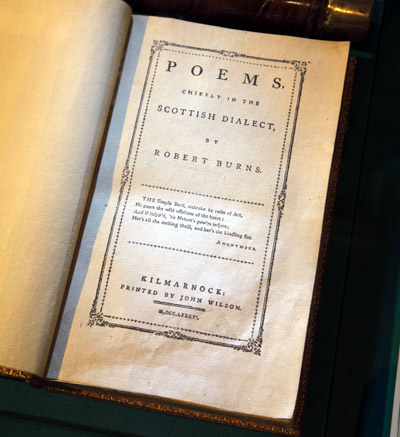 Old book of poetry by Robert Burns, Scotland's National Bard
