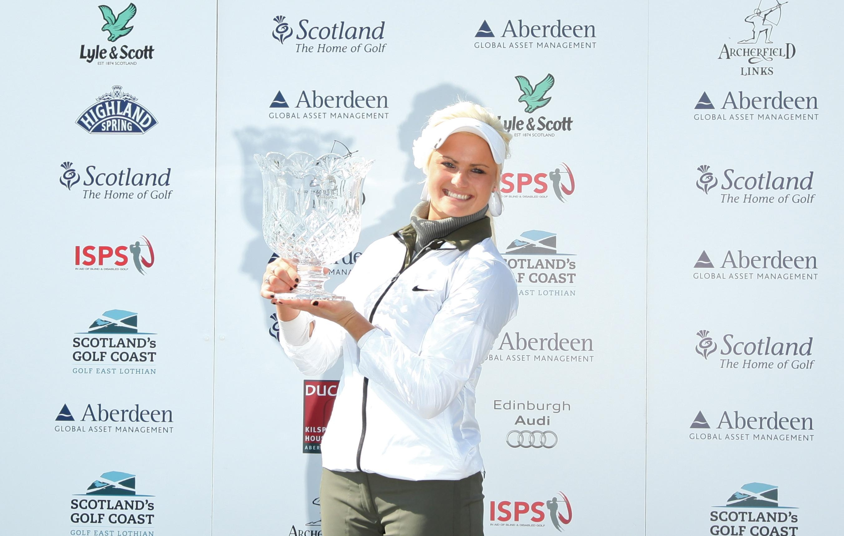 Scottish golfer Carly Booth celebrates her her first Ladies European Tour title