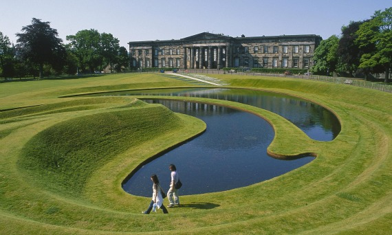 The sculpted landform of sweeping swirls of grass and water infront of the Scottish National Gallery of Modern Art Two