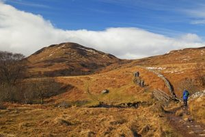 Hikers walking the West Highland Way