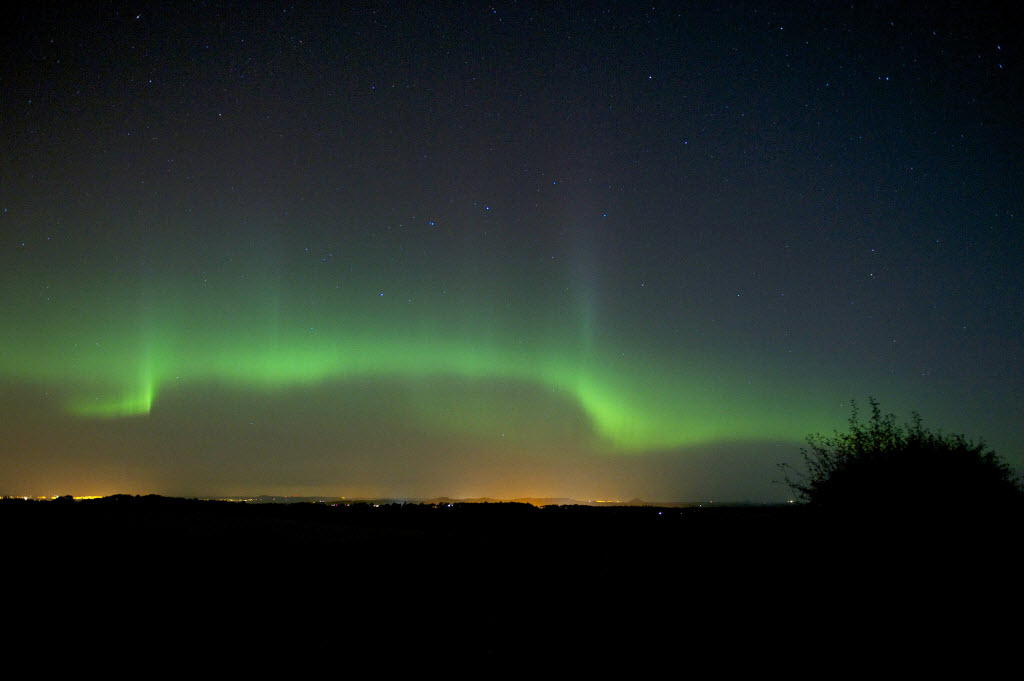 Northern Lights Scotland - Humbie East Lothian. Taken by Jim Hunter