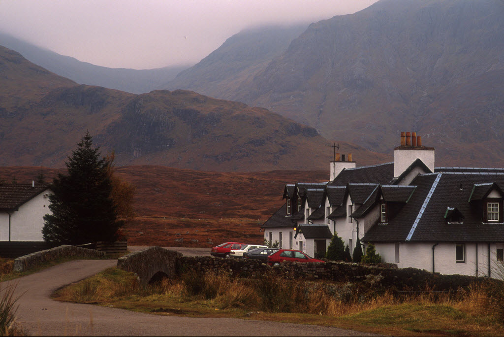 Looking over to parked cars outside the Kingshouse Hotel - popular with hill walkers and climbers, on the west side of Rannoch Moor.