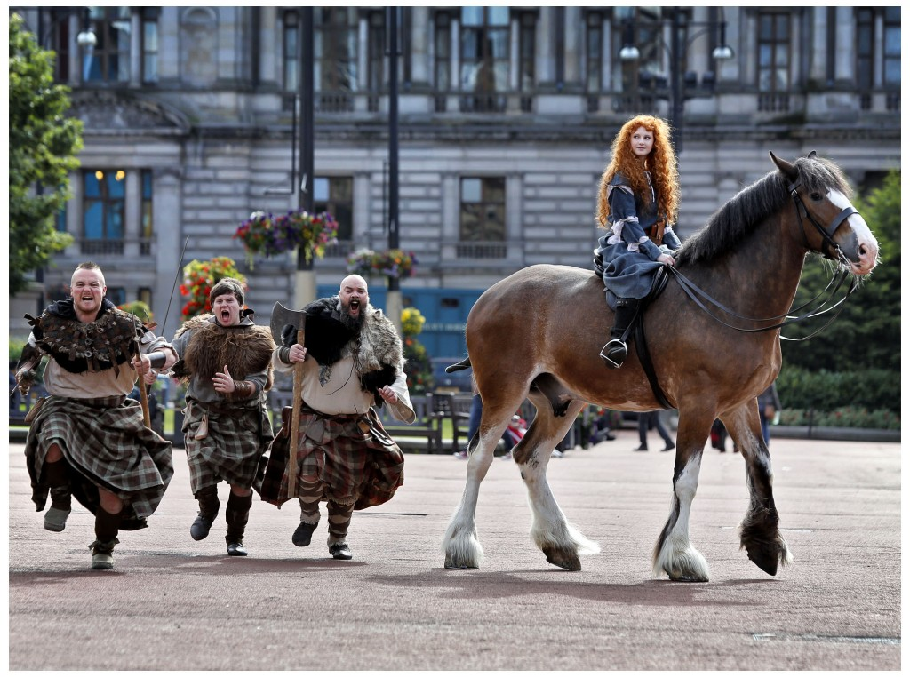 VisitScotland Brave promotion in George Square, Glasgow.