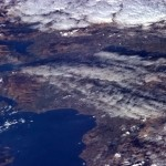 The low, late afternoon February sun shines across the skinny waist of Scotland, almost to Edinburgh - Chris Hadfield