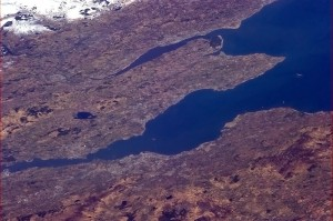 Edinburgh to Dundee, with the big Tay and Forth bridges visible - Chris Hadfield