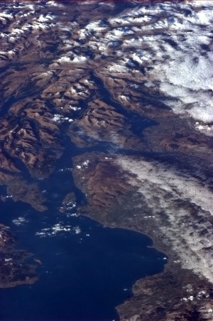 The ruggedness of Scotland evident in the snowy hills and lochs north of the Firth of Clyde - Chris Hadfield