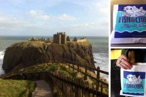 Dunnottar Castle in Aberdeenshire and a deep-fried Mars bar