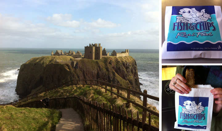 Dunnottar Castle in Aberdeenshire and a deep-fried Mars bar
