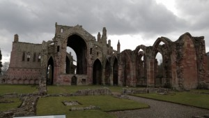 The nearby Melrose Abbey