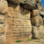 A detail of the inscription on the memorial cairn at the Culloden Visitor Centre on the site of the Battle of Culloden, Highlands