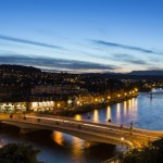 The view down the River Ness running through the city centre of Inverness, from the grounds of Inverness Castle