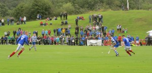 Newtonmore and Kyles Athletic shinty teams battle it out at Mossfield in Oban, Argyll