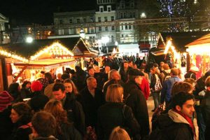 Crowds soak up the atmosphere at the European Christmas market in Edinburgh
