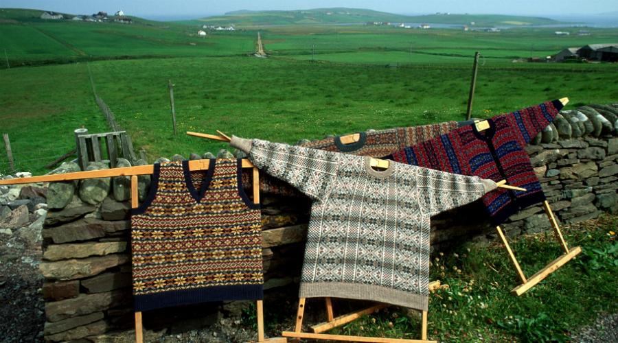 Various Shetland wool knitwear, Shetland Isles