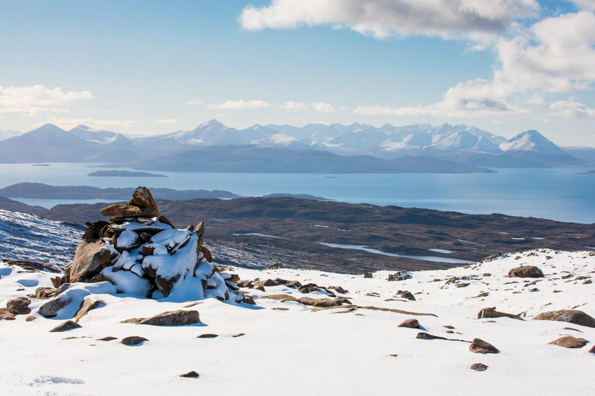 View over to the Cuillin Ridge on the Isle of Skye from the top of Bealach na Bà - The Road to Applecross