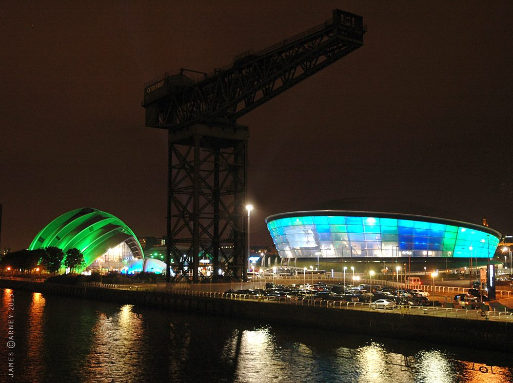 The lit-up SSE Hydro in Glasgow at night
