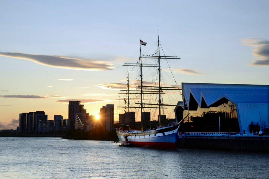The Tall Ship at the Riverside in Glasgow at sunset