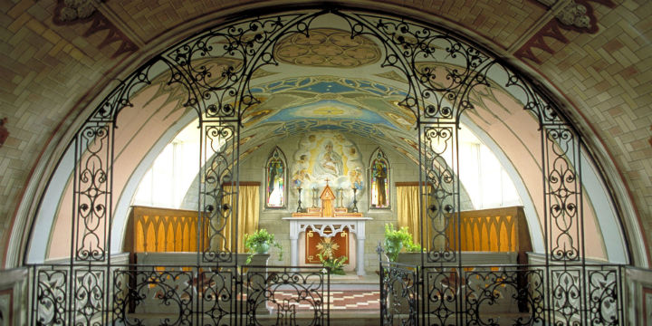 The ornate interior of the Italian Chapel in Lamb Holm, Orkney