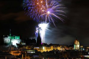 Hogmanay fireworks over Edinburgh Castle