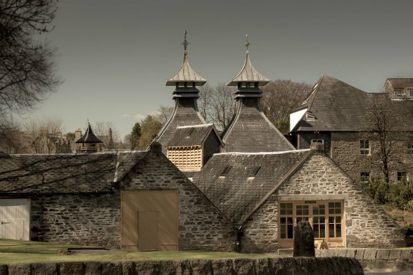 An exterior shot of the Glenfiddich distillery in Speyside, the Highlands