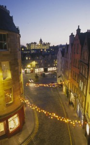 Looking across the Grassmarket from the terrace above Victoria Street in Edinburgh's Old Town