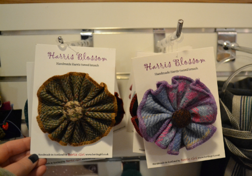 Harris Tweed 'floral'  brooches, as available from Edinburgh Visitor Information Centre