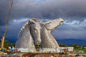 The Kelpies, large equine statues, at The Helix, early November 2013