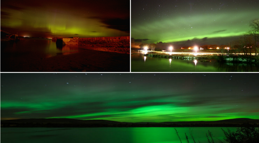 Northern Lights captured over Scotland Top left @ Ian Horne. Top right @ Maciej Winiarczyk. Main bottom @ Michael White