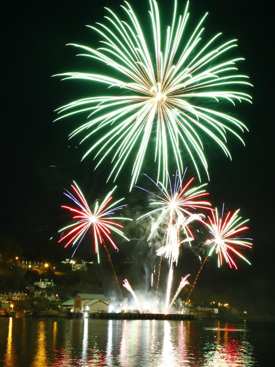 Oban Winter Festival fireworks finale over Oban bay
