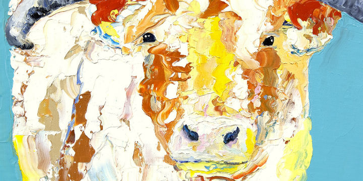 Oil painting of a Highland cow © Sally Fisher
