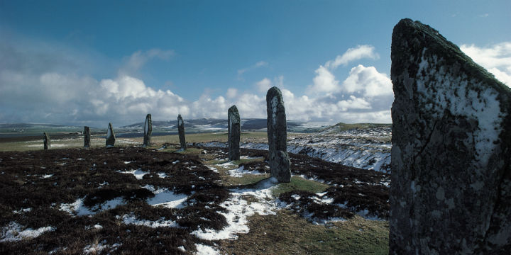 The standing stones of the Ring of Brodgar, Orkney, in the snow