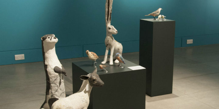 Ceramic animals by Glasgow artist Susan O'Byrne, on display at Dovecot Studio
