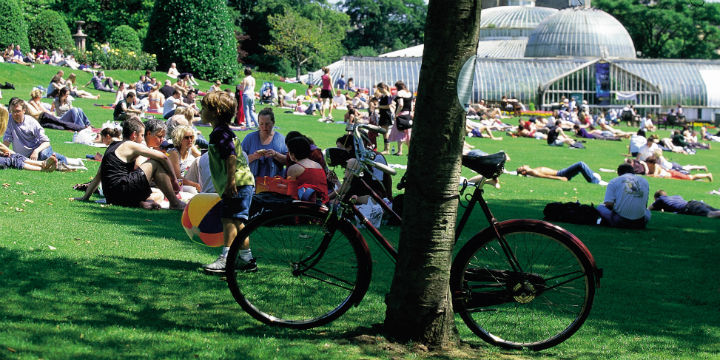 People relaxing on a sunny day in Glasgow Botanic Gardens
