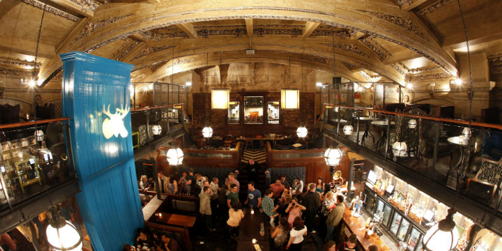 Interior of the Hillhead Bookclub, a pub and restaurant in Glasgow