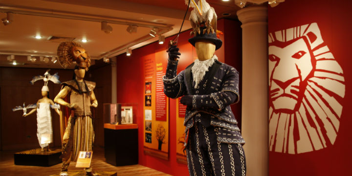 Costumes from the Lion King stage show, on display at City Art Centre, Edinburgh