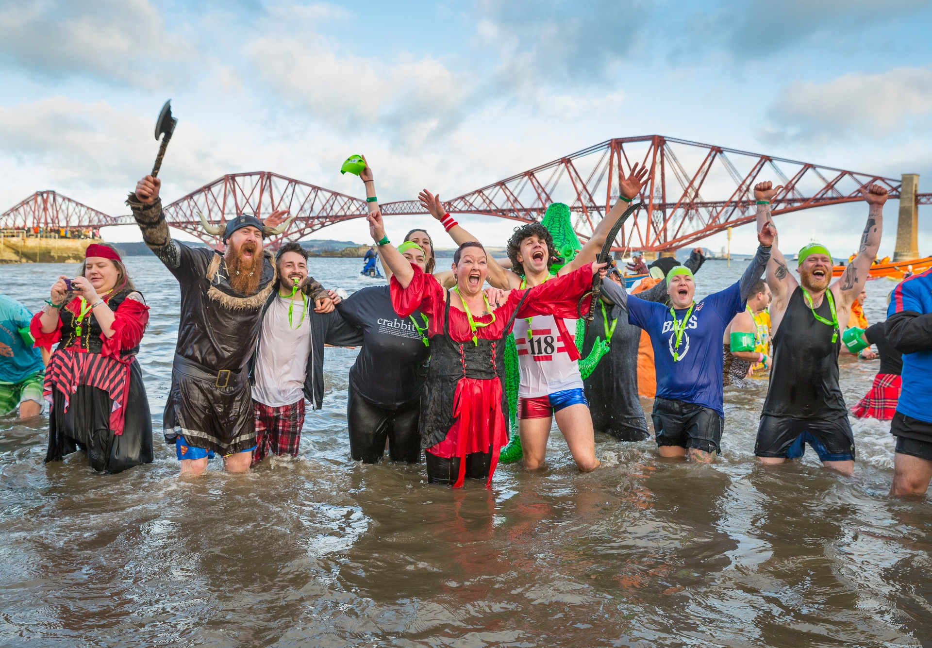 The Loony Dook on New Year's Day in South Queensferry