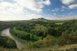 Sir Walter Scott View, looking west over the River Tweed towards Melrose and the Eildon Hills in the Scottish Borders
