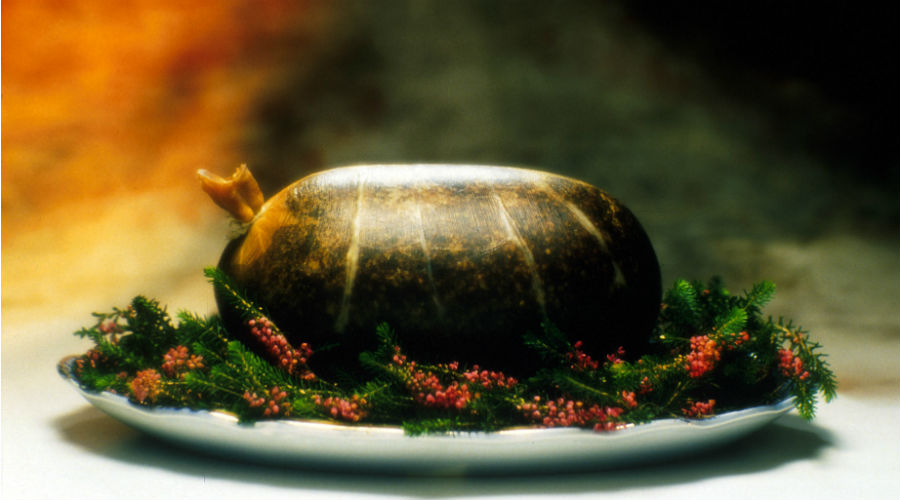Haggis served on a bed of heather