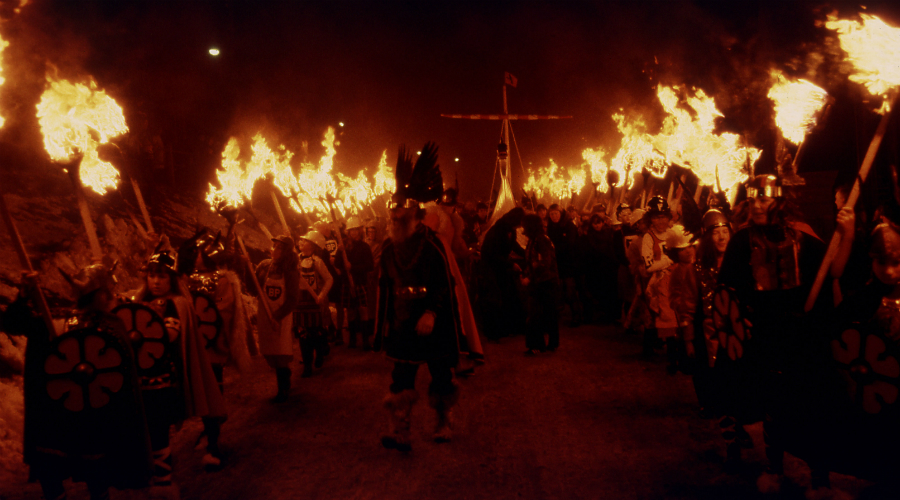 The night time procession of Up Helly Aa in Lerwick, Shetland