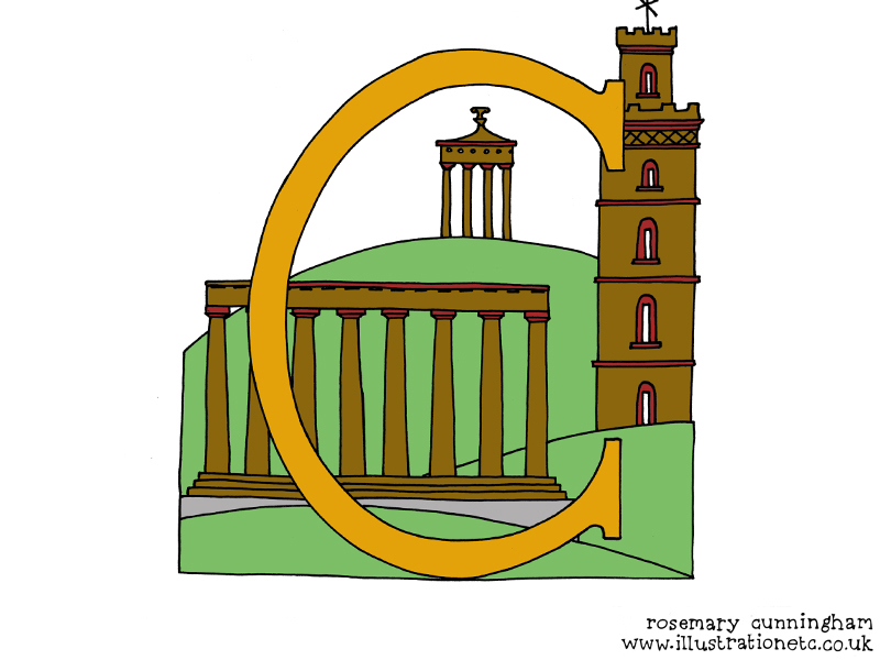 Illustration of Calton Hill by Rosemary Cunningham