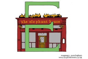 Illustration of the Elephant House by Rosemary Cunningham