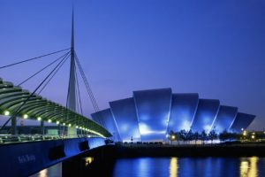 The Clyde Auditorium, known colloquially as the 'Armadillo' is one of Glasgow's major music venues