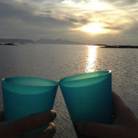 Two plastic cups are clinked together, with the sea and sunset in the background