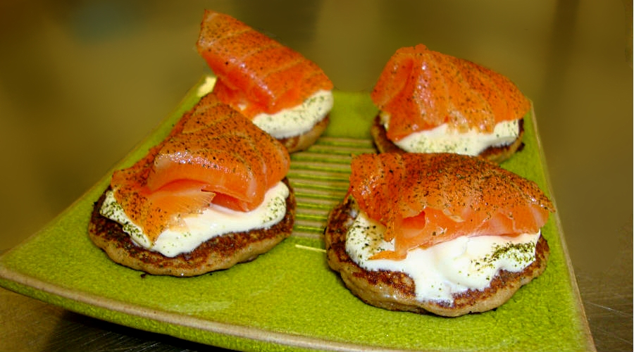 Potato & Beremeal Flour Pancakes with Marburry Smoked Salmon and Katy Rogers Crème Fraîche @ Andrew Fairlie
