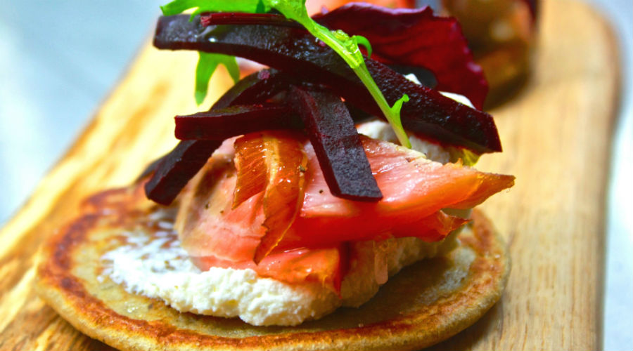 Beremeal pancakes with salmon, crowdie and beetroot @ Neil Forbes