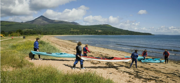 Sea kayaking at Brodick Bay