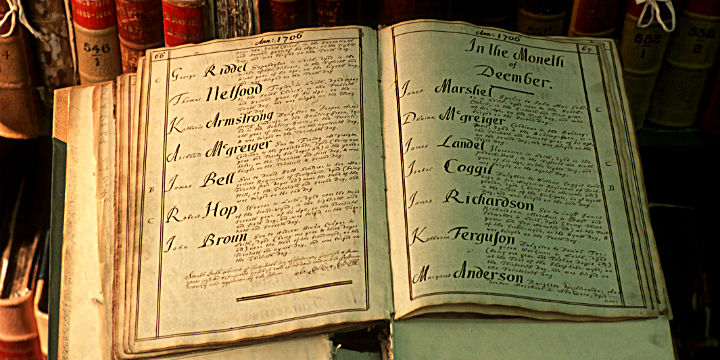 a close-up of an old book of names