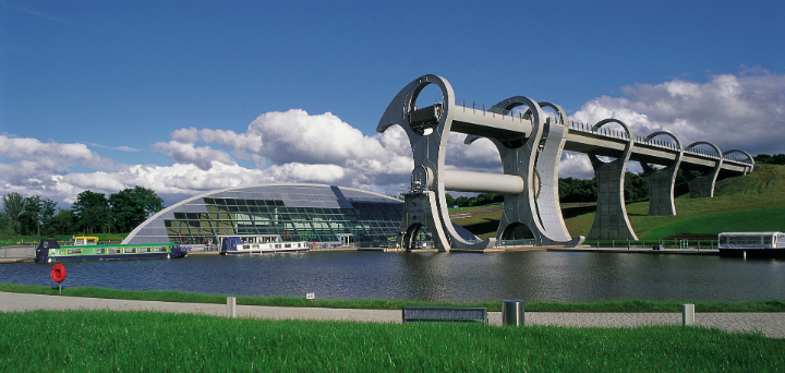 The engineering wonder of the Falkirk Wheel, a rotating boatlift, and the visitor centre