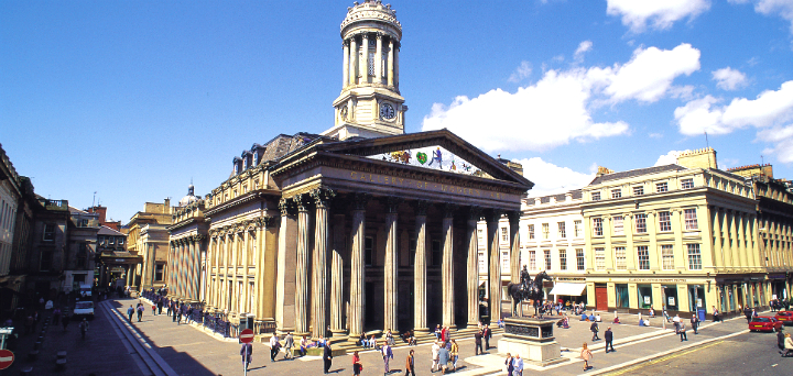 The exterior of the Gallery of Modern Art (GoMA) in Exchange Square, Glasgow