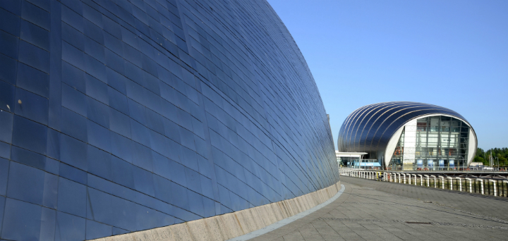 The Glasgow Science Centre with the IMAX cinema beyond, west of the city centre of Glasgow